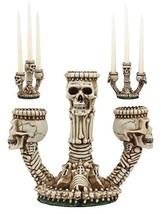 Ebros Gothic Trio Ossuary Graveyard Skulls and Skeleton Bones Candelabra Candle  - $21.77