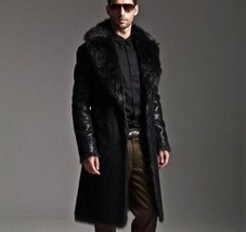 Winter Men Leather Coat Tailor Made Real Genuine Leather Trench Coat -US-51 - $237.50