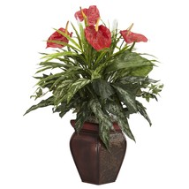 Nearly Natural 6678 Mixed Greens and Anthurium with Vase Decorative Silk... - €62,06 EUR