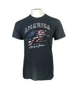 AMERICA LIBERTY & JUSTICE ADULT GRAY T-SHIRT M-2XL PATRIOTIC OLYMPICS FR... - $9.99