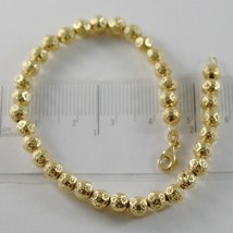 18K YELLOW GOLD BRACELET WITH FINELY WORKED SPHERES 5 MM BALLS MADE IN I... - $655.20