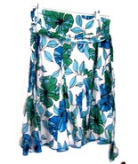Sz 12 - Apt. 9 White w/Blue & Green Floral Print Pleated Skirt w/Sash Belt - $33.24