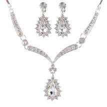 Bridal Wedding Prom Jewelry Set Crystal Rhinestone Link Chain - $49.68