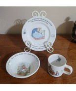 Vintage Wedgwood Peter Rabbit by Beatrix Potter 3 Piece Porcelain Set England - £17.92 GBP