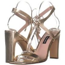 Nine West Longitano Lace Up Sandals 199, Light Gold, 7.5 US - $28.79
