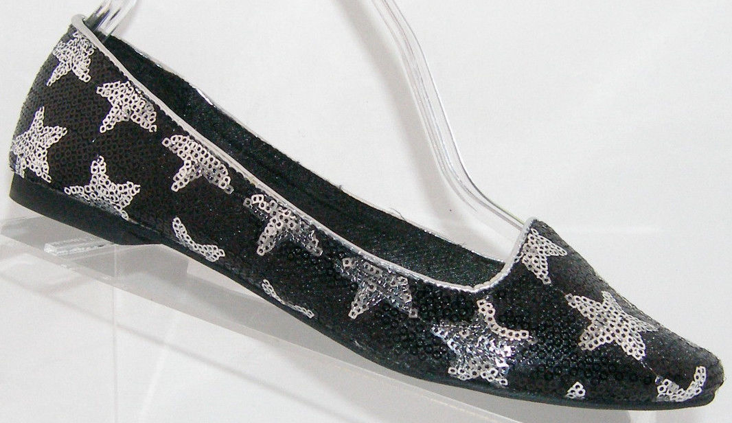 Primary image for Princess Vera Wang 'Dara' silver stars black sequin slip on ballet flats 8.5M