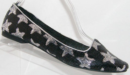 Princess Vera Wang 'Dara' silver stars black sequin slip on ballet flats... - $26.51