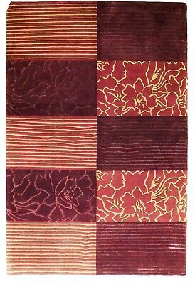 Abstract Shades of Red Gold stripes Handmade 6 x 8 Red Modern Wool & Silk Rug