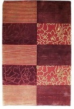 Abstract Shades of Red Gold stripes Handmade 6 x 8 Red Modern Wool & Silk Rug image 1