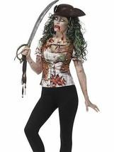 Zombie Pirate Wench T-Shirt, Small,Halloween Fancy Dress, Womens, UK 8-10 - $24.59