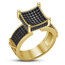 Solitaire Engagement Ring Round Cut Black CZ 14k Yellow Gold Plated 925 Silver - $89.05