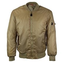 Men's Multi Pocket Water Resistant Padded Zip Up Flight Bomber Jacket (Large, Be