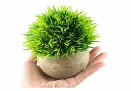 Mini Artificial Plants Green Grass Faux Greenery Topiary Shrubs with Pot - $6.99