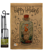 Sparkle Happy Holidays Burlap - Impressions Decorative Metal Garden Pole... - $33.97