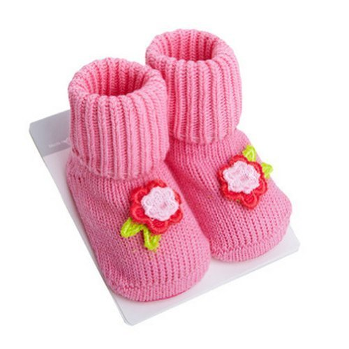 PINK Flower Toddler Anti Slip Skid Shocks Baby Stockings Newborn Infant Shoes