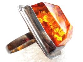 Large Vintage Modernist Sterling Silver Genuine Baltic Amber Ring S 7 - $148.49