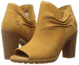 Women's Timberland Glancy Ruched PEEP-TOE Boots, Wheat A1GWA231 Sizes 6.5-11 - $124.95