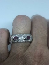 Vintage Ruby Deco Band Ring 925 Sterling Silver Size 6 - €89,69 EUR