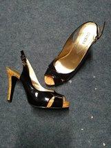 Patent Leather Black Guess Heels 7 women shoes slingbacks slings open toes platf - $35.00