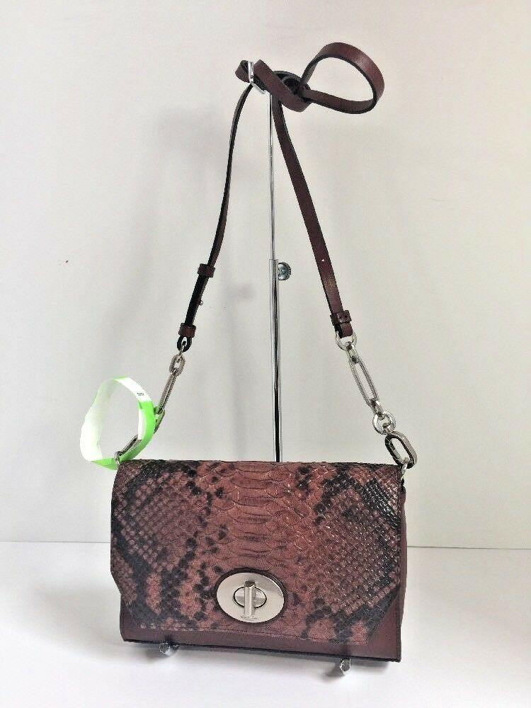 Coach Crosstown Crossbody Bag Bleecker Embossed Leather Python Brick 52118  B01