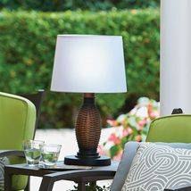 """26"""" Faux Wicker Table Lamp + Shade Battery LED 3-Way All Weather Outdoor Light image 4"""
