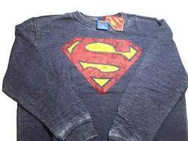 DC Comics Superman Distressed Boys Long Sleeve Thin Sweatshirt Blue (XL ... - $12.86