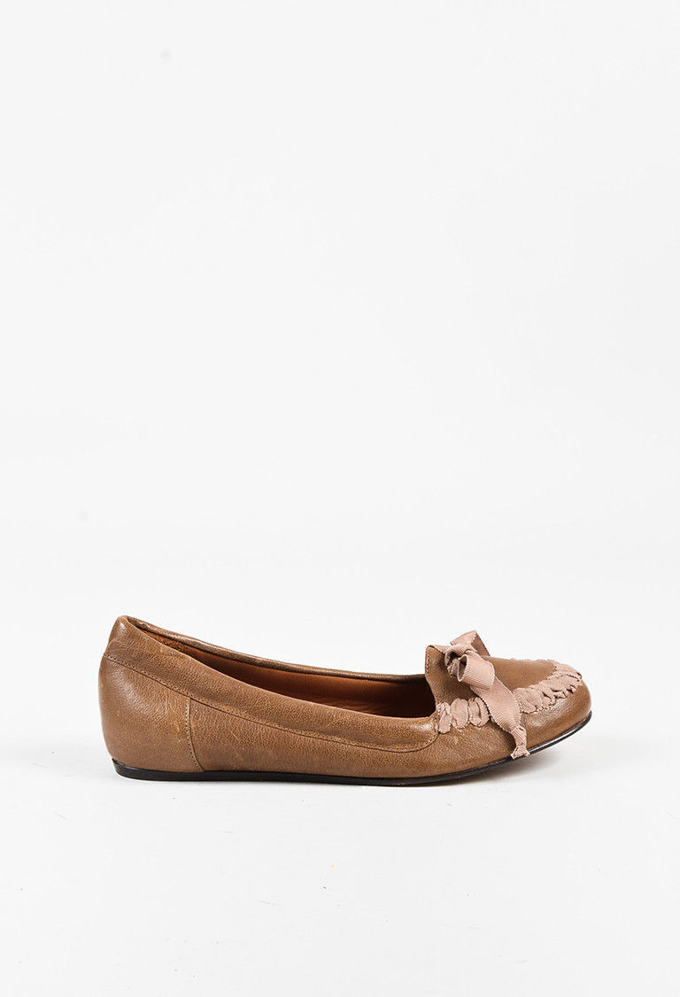 Lanvin Brown & Pink Leather Interwoven Bow Flats SZ 40