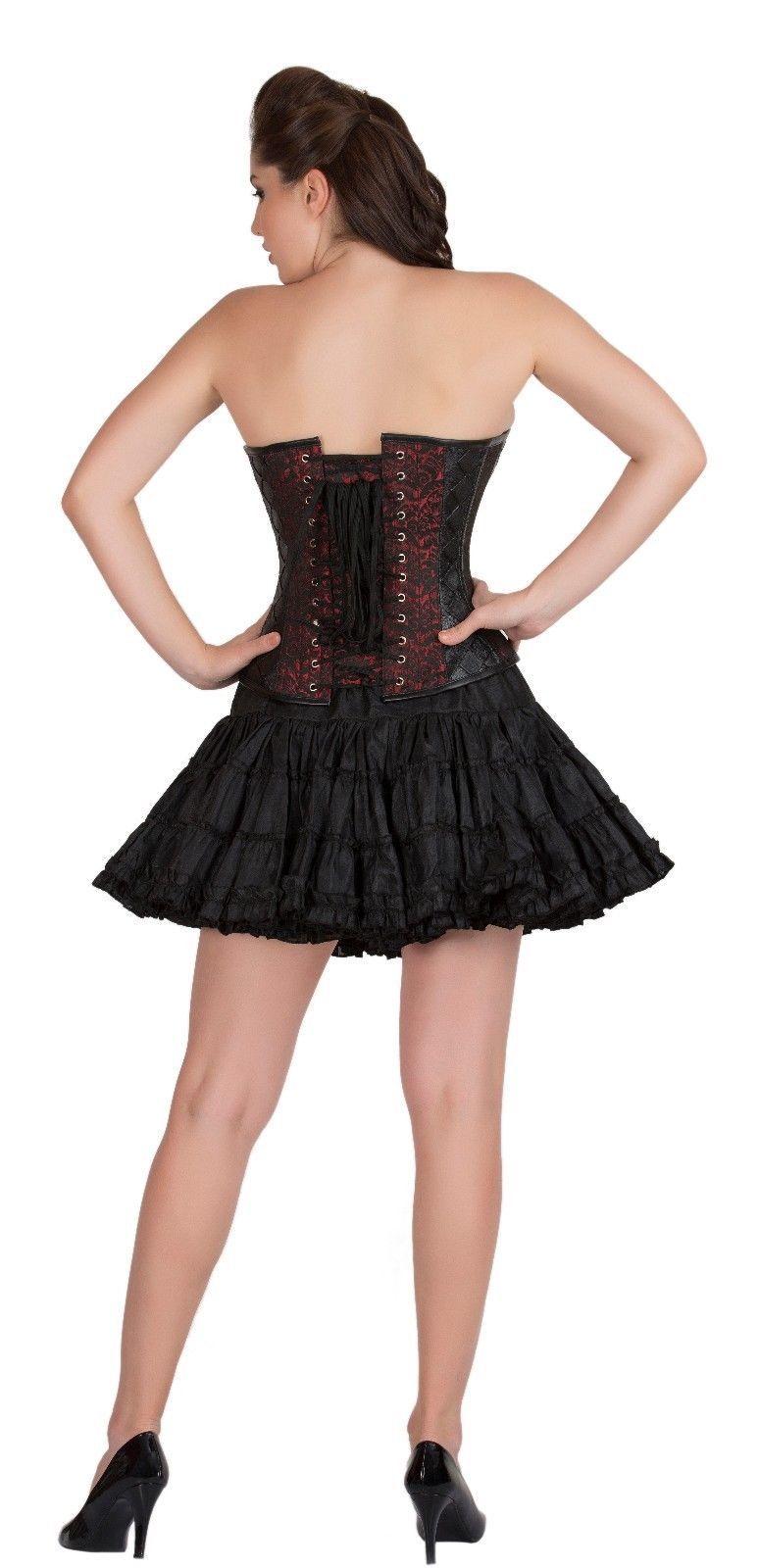 Red Black Brocade & Leather Goth Halloween Costume Burlesque Overbust Corset Top