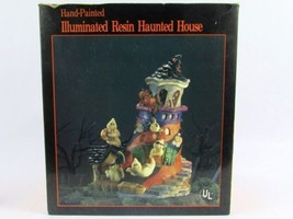 ILLUMINATED HALLOWEEN HANDPAINTED RESIN HAUNTED HOUSE BRAND NEW IN BOX - £8.63 GBP