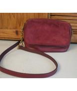 Fossil Burgundy Leather & Suede Shoulder Bag Handbag PURSE Pocketbook - $28.70