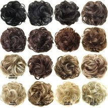 Natural Color Curly Messy Bun Hair Piece Scrunchie Hair Extension image 2
