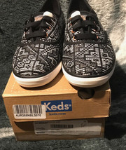 NWB Women's Keds Champion Needlepoint Sneakers Black And White Pattern S... - $37.19 CAD
