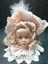 Victorian Porcelain Doll Head Brunette pink & lace COLLECTORS vintage or... - $39.99