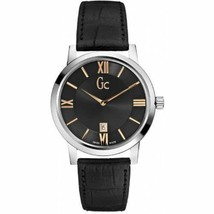 Brand New Guess Collection Gc X60004G2S Silver Case Black Leather Men's Watch - £117.81 GBP