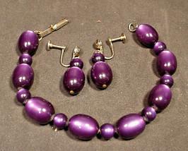 "Vintage Lucite Moonstone Bracelet Matching Earrings Deep Purple 8"" - $28.71"