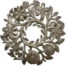 Small Floral Wreath Drum Sculpture Haitian Metal Art 14' X 14' - $58.10