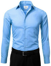 Berlioni Italy Men's Slim-Fit Premium French Convertible Cuff Solid Dress Shirt image 15