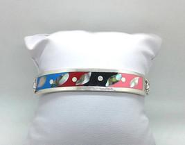 VTG Mexican Alpaca Silver Abalone Enamel Inlay Bangle Bracelet Hook Clas... - $18.52