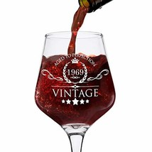 1969 50th Birthday Gifts for Women and Men Wine Glass - Vintage Funny An... - $17.71
