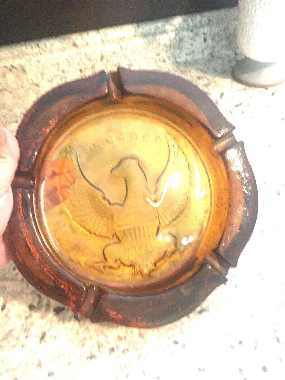 "ASHTRAY Vintage American Eagle heavy amber 10"" Union shield Tiara Indiana Glass"
