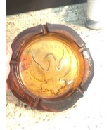 "ASHTRAY Vintage American Eagle heavy amber 10"" Union shield Tiara Indian... - $69.25"