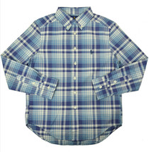 Polo Ralph Lauren Boys Blue Multi Plaid Button Down Shirt Medium M 10-12 9261-3 - $33.65