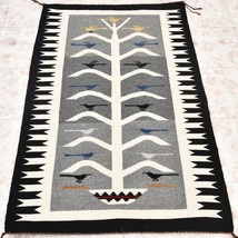 Vintage Pawn Tree Of Life Hand Woven Pictorial Wool Rug Navajo Style 31x... - $1,189.00