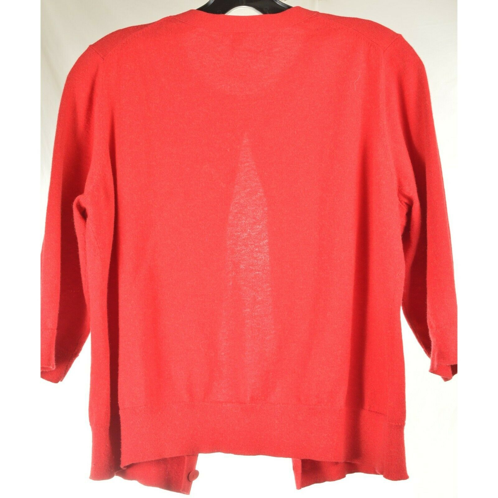 Eileen Fisher sweater M red cardigan 3/4 sleeves organic cotton cashmere blend image 9
