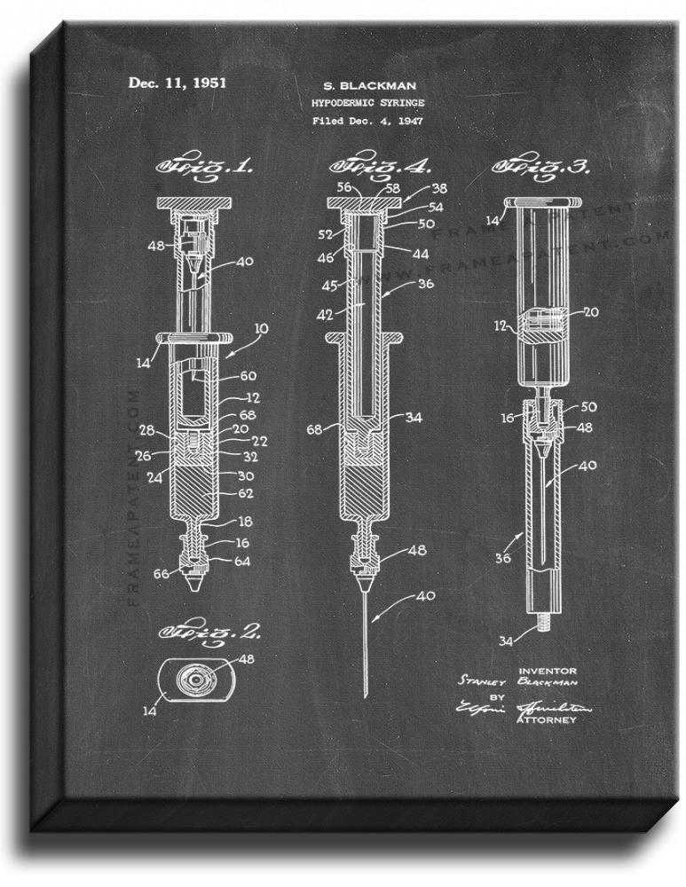 Primary image for Hypodermic Syringe Patent Print Chalkboard on Canvas