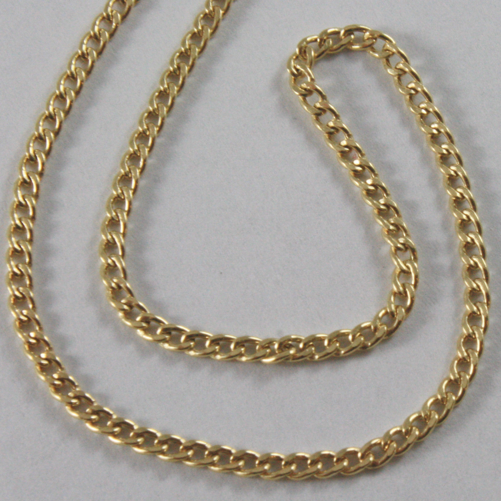 18K YELLOW GOLD CHAIN LITTLE GRUMETTE GOURMETTE OVAL LINK NECKLACE MADE IN ITALY