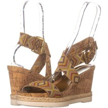 White Mountain Pearle Platform Wedges 196, Natural Multi, 10 US - $23.03