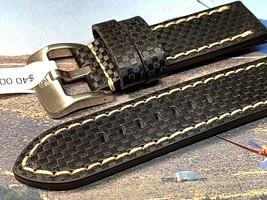 Alfa 24mm Carbon Fiber texture genuine leather watch band replaces Panerai - $27.10