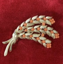 Vintage Signed Trifari Smooth & Textured Gold Tone Faux Coral Brooch - $43.43