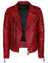 Men's Red Slim Fit Quilted Biker Leather Jacket image 1